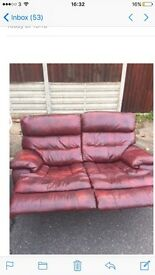 For Sale 2 seater leather reclining sofa