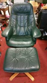 Chair & Stool - Quality Extra Comfy Soft Dark Green Leather Swivel Recliner Chair & Stool