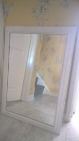 Shabby chic Large Bevelled glass Mirror painted in white and light grey effect exc cond
