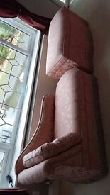 Beautiful Chaise Lounge & Large Matching Ottoman In Peach Material.
