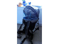 CHICCO CADDY BABY CARRIER. EXCELLENT CONDITION. RAIN COVER. COMFORTABLE.
