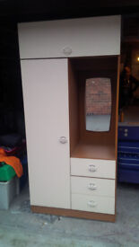 SINGLE DRESSING UNIT WARDROBE WITH 3 DRAWS MIRROR TOP OPEN STORAGE AND HANGING WARDROBE SIZE BELOW