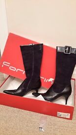 Black leather and suede cord detail ladies winter boots size 39