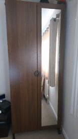 *REDUCED* Wardrobe, chest and bedside table in a dark wood style with unique circle handles