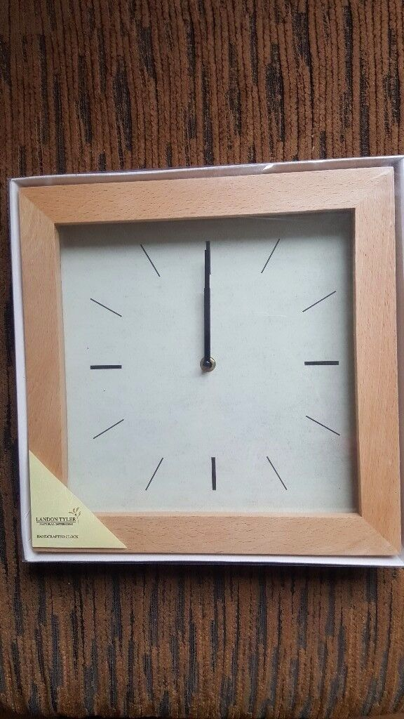 New in box hamdcrafted wooden framed wall clock