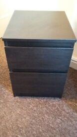Ikea bedside cabinet in black-brown