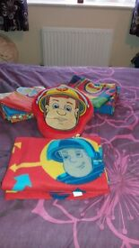 Fireman sam single duvets x2 with pillow cases, cushion and fleece