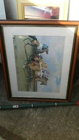 Horse racing picture. large framed jockey