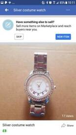 Silver costume watch