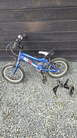 Childs boy bike ridgeback MX14 14 inch bike (blue) with stabilisers