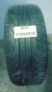PNEU ÉTÉ USAGÉ / SUMMER USED TIRE 215/60R16 21560R16 TOYO SPECTRUM TOURING RADIAL (1 SEUL DE DISPONIBLE)