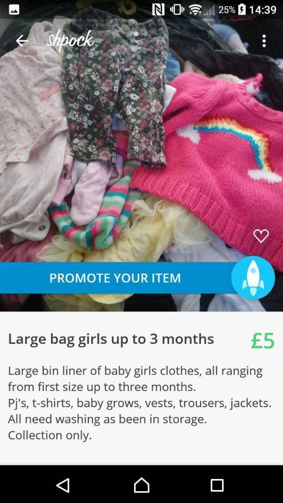 Two large bags baby girl clothes 0-12