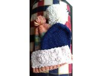 Women's Woolly Hats Bundle 2 x Bobble Hats - 1 x Beanie Hat -1 x Woolly Headband - Various Colours