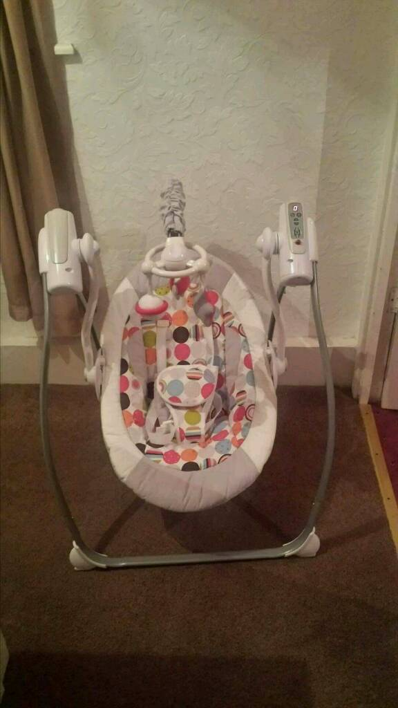 Baby swingin Choppington, NorthumberlandGumtree - Has different speed settings and music. Can fold for storage.In excellent condition as only been used a few times