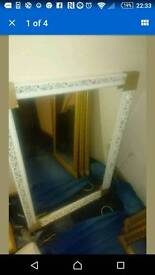 New large white and gold wooden mirror