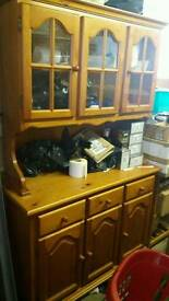 solid wood cupboard showcase drawers oak wardrobe excellent