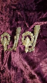 3 Pairs Solid Brass Curtain Tie Backs (Louis XVI style)