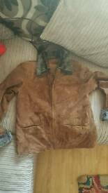 Real leather sued3le size 14 coat