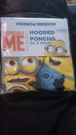 Brand New Despicable Me Hooded Poncho (Minions) - Great Christmas Gift Idea