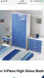 Boys blue gloss bedroom set of 3