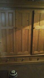 2 x Solid pine wardrobes