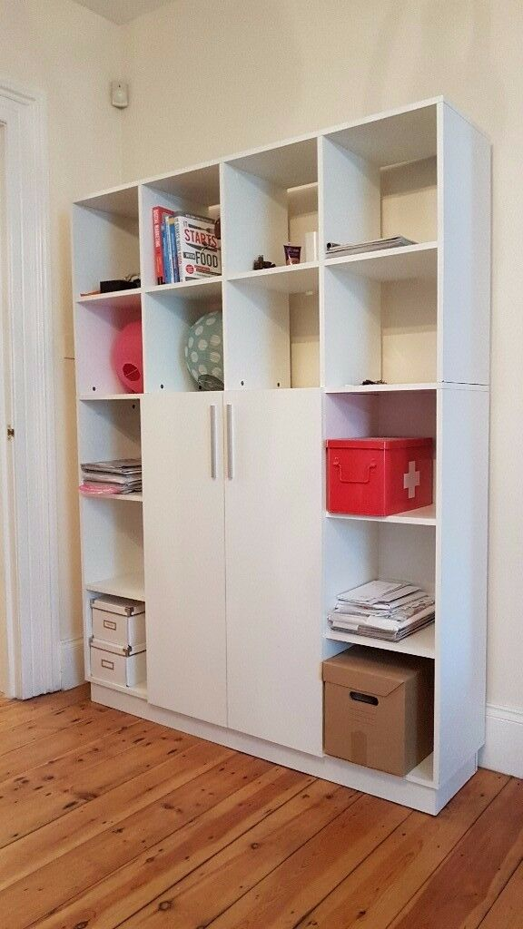Large White Book Shelf Office With Doors