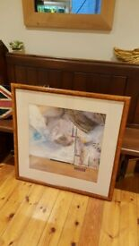 Barker and Stonehouse large abstract painting in Burr Walnut frame