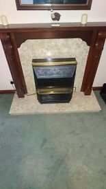 Oak rio fire place, marble herth and heater