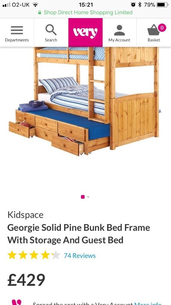 Solid Pine Bunk Beds With Pull Out Bed And Storage In Armagh