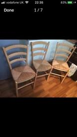 John Lewis Set Of Light Wood 3 Dining Chairs Wicker Detail Like New Strong & Stable Set