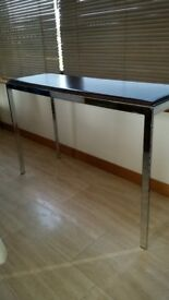Rare Leather and Chrome Console Table