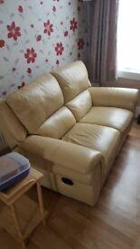 2 seater - cream leather sofa