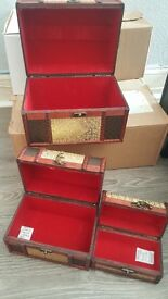 Set of 3 wooden jewellery / storage boxes