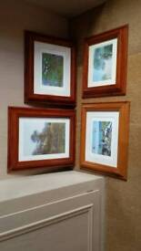 Set of four Monet prints in solid wooden frames