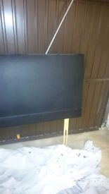 Double bed leather look black headboard