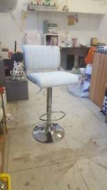 Beauty bar chair white leather adjustable height