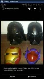 Boys masks darth vader, iron man & big hero 6