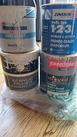 4 x tins assorted acrylic undercoat/primer/sealer