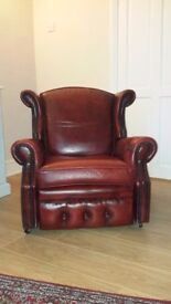 Chesterfield Red Leather Reclining Chair