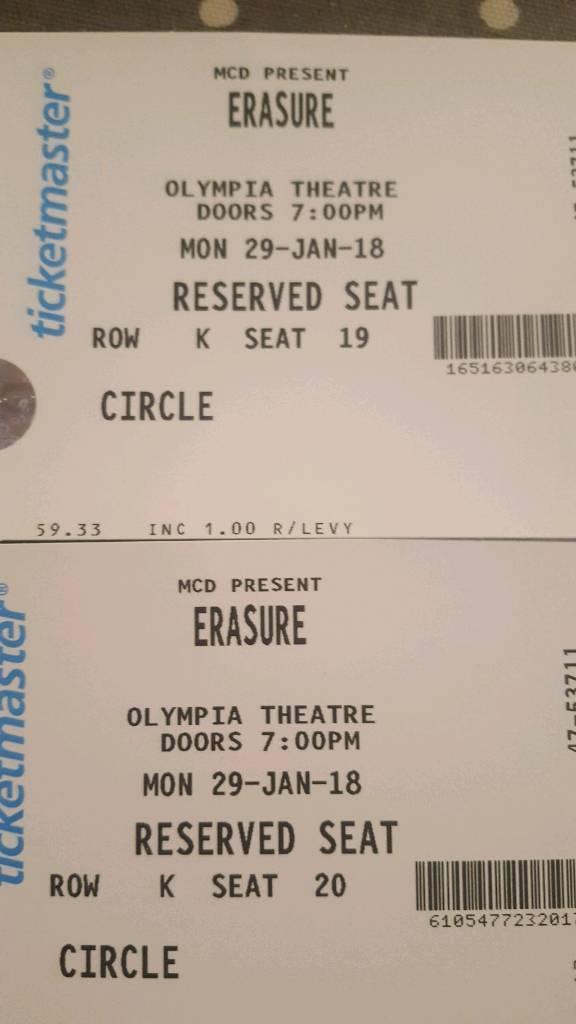 2 no seated circle erasure tickets Dublin Mon Jan