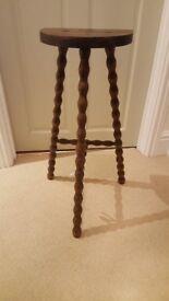 Three leg twisted oak stool - really rare piece