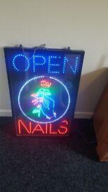 Led nail bar sign