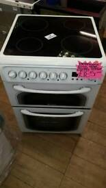 HOTPOINT WHITE 60CM WIDE DOUBLE OVEN ELECTRIC COOKER