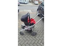 Maxi cosi car seat, isofix, pram and carry cot with raincover