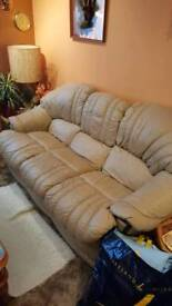 Leather sofa and reclining chairs
