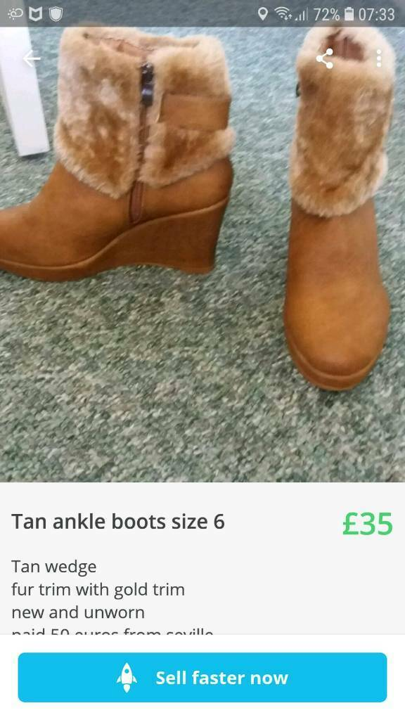 fa27787ee0d58 Tan ankle boots fur trim size 6 | in Sheffield, South Yorkshire | Gumtree