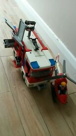 Playmobil fire engine and helicopter