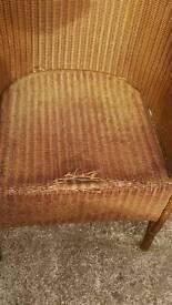 A rattan bucket chair