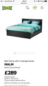 Malm double bed, storage drawers and mattress