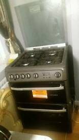 Hotpoint,DSG60GM Gas cooker-gun metal with grill and oven